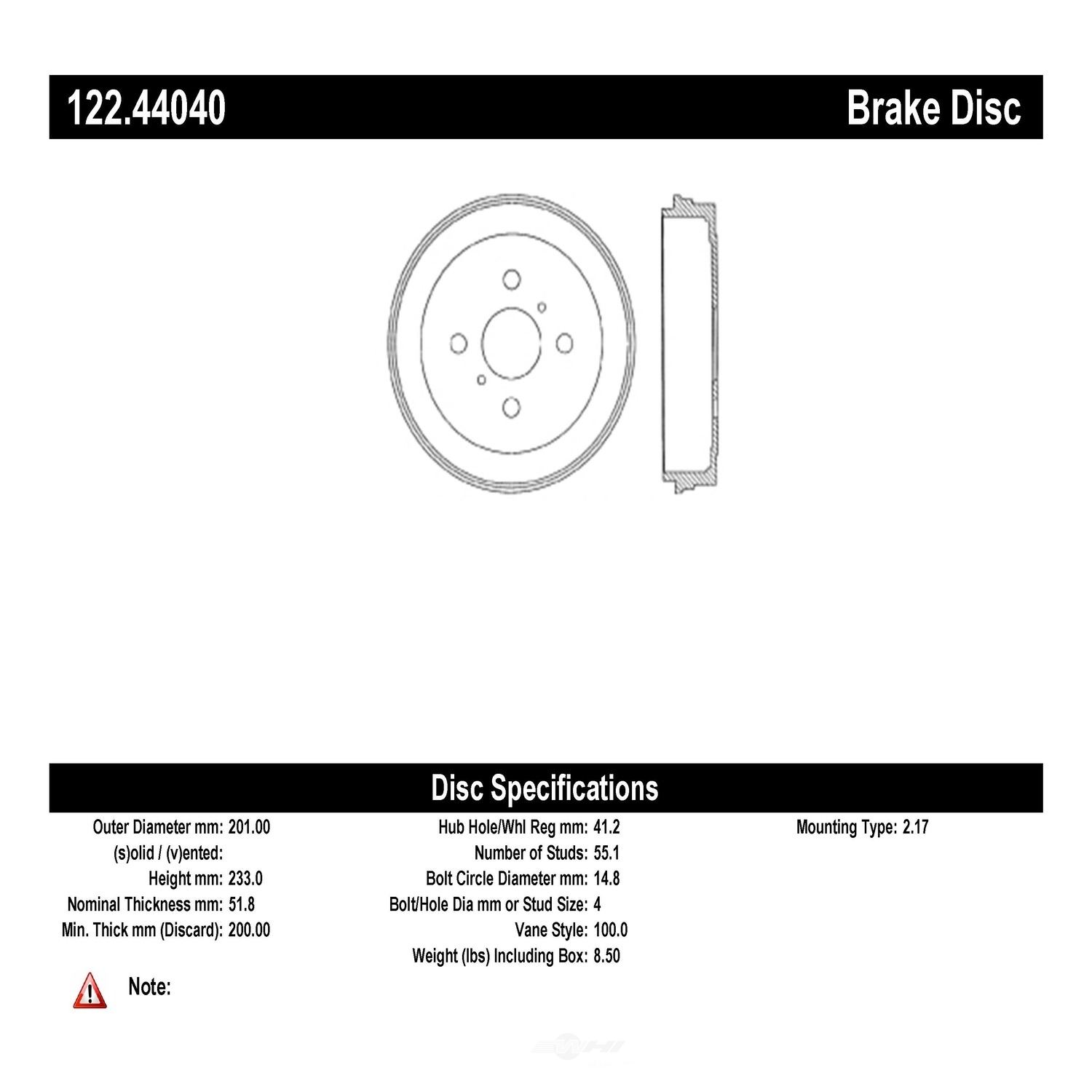 CENTRIC PARTS - Premium Drum - Preferred - CEC 122.44040