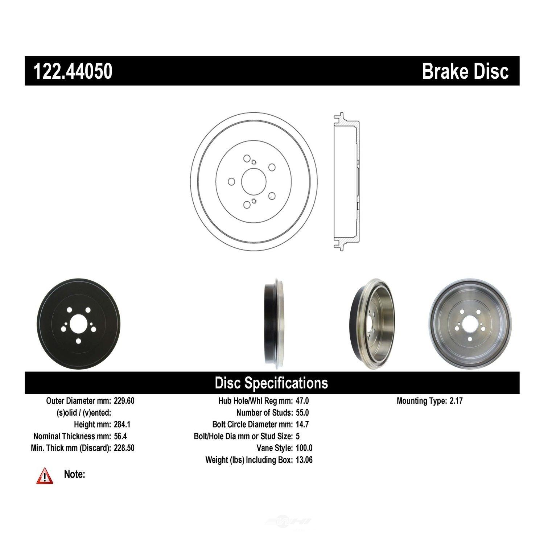 CENTRIC PARTS - Centric Premium Brake Drums - CEC 122.44050