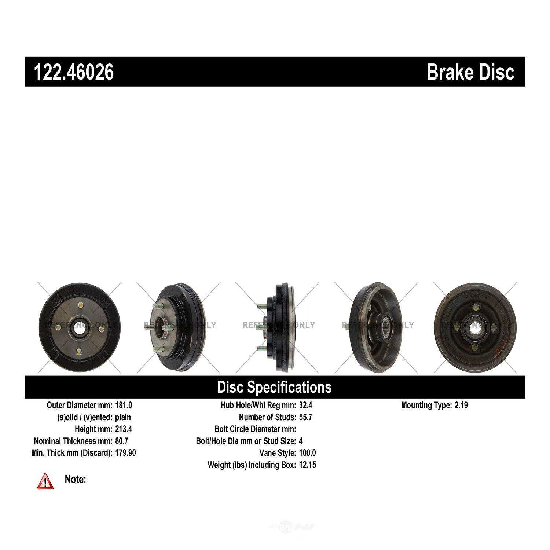 CENTRIC PARTS - Premium Drum - Preferred (Rear) - CEC 122.46026
