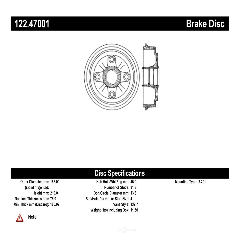 CENTRIC PARTS - Centric Premium Brake Drums - CEC 122.47001