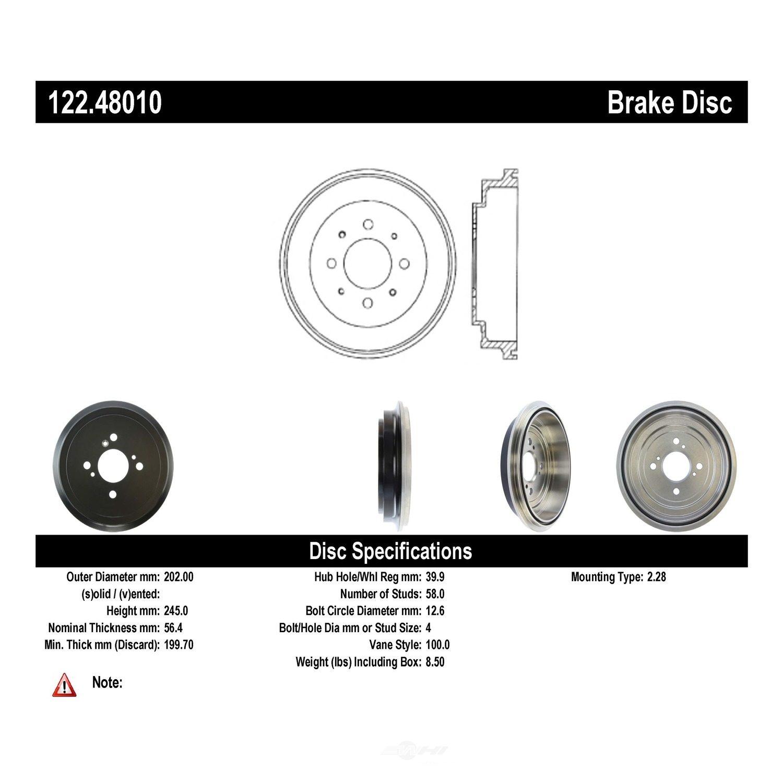 CENTRIC PARTS - Premium Drum - Preferred - CEC 122.48010