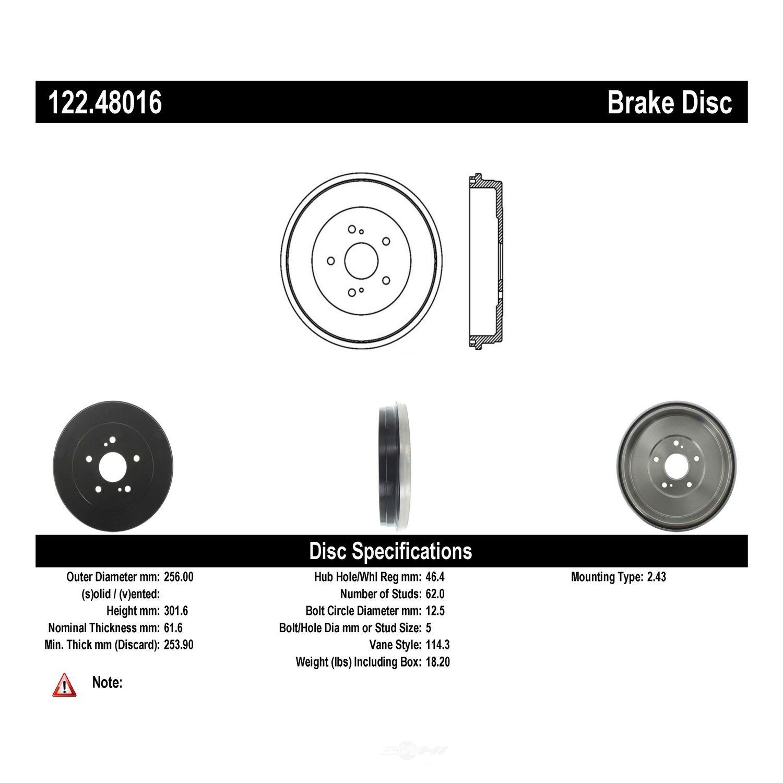 CENTRIC PARTS - Premium Drum - Preferred - CEC 122.48016