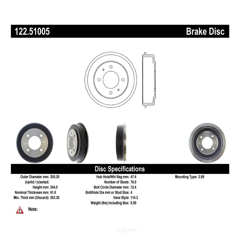 CENTRIC PARTS - Premium Drum - Preferred - CEC 122.51005