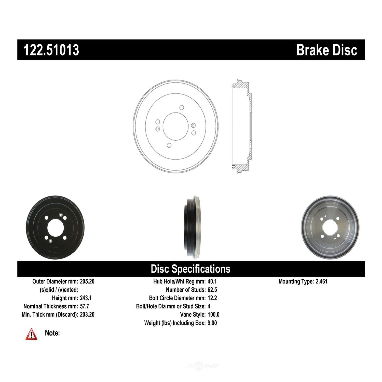 CENTRIC PARTS - Premium Drum - Preferred (Rear) - CEC 122.51013