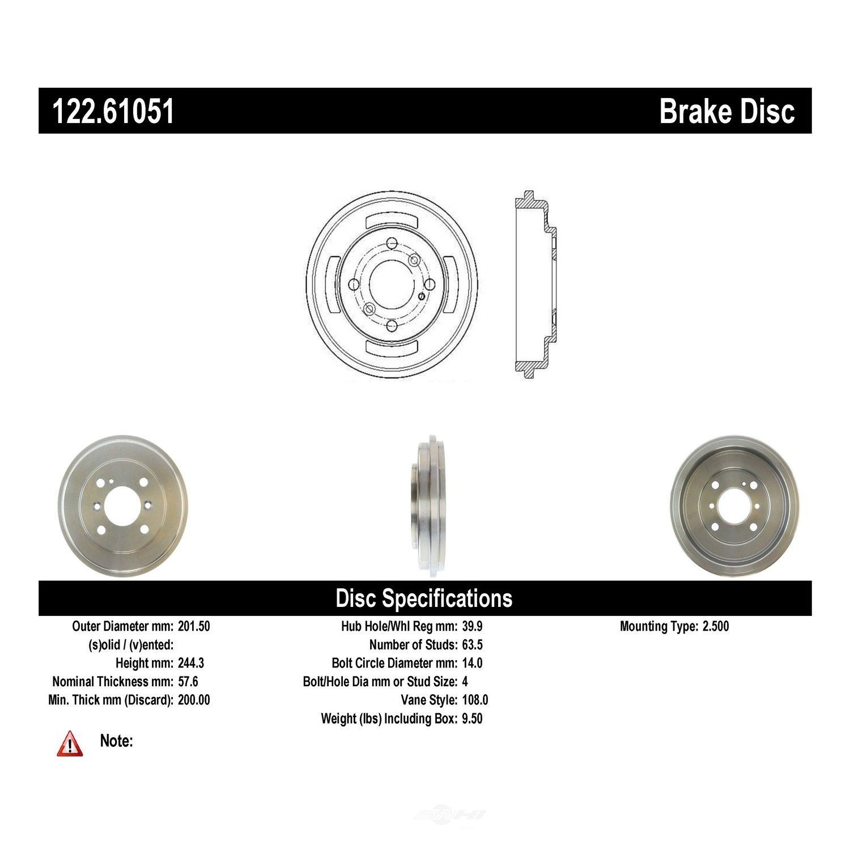 CENTRIC PARTS - Premium Drum - Preferred (Rear) - CEC 122.61051