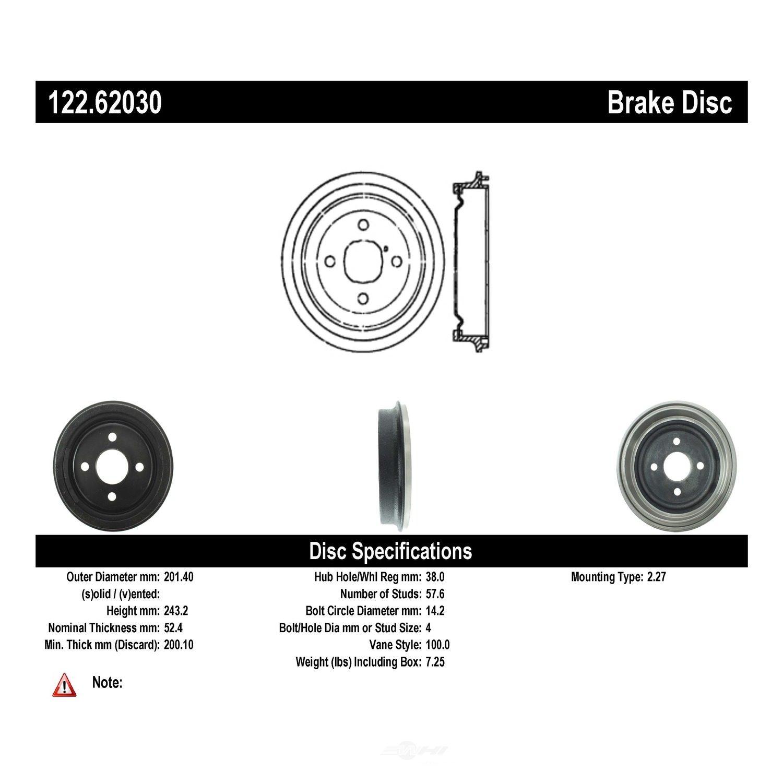 CENTRIC PARTS - Premium Drum - Preferred - CEC 122.62030