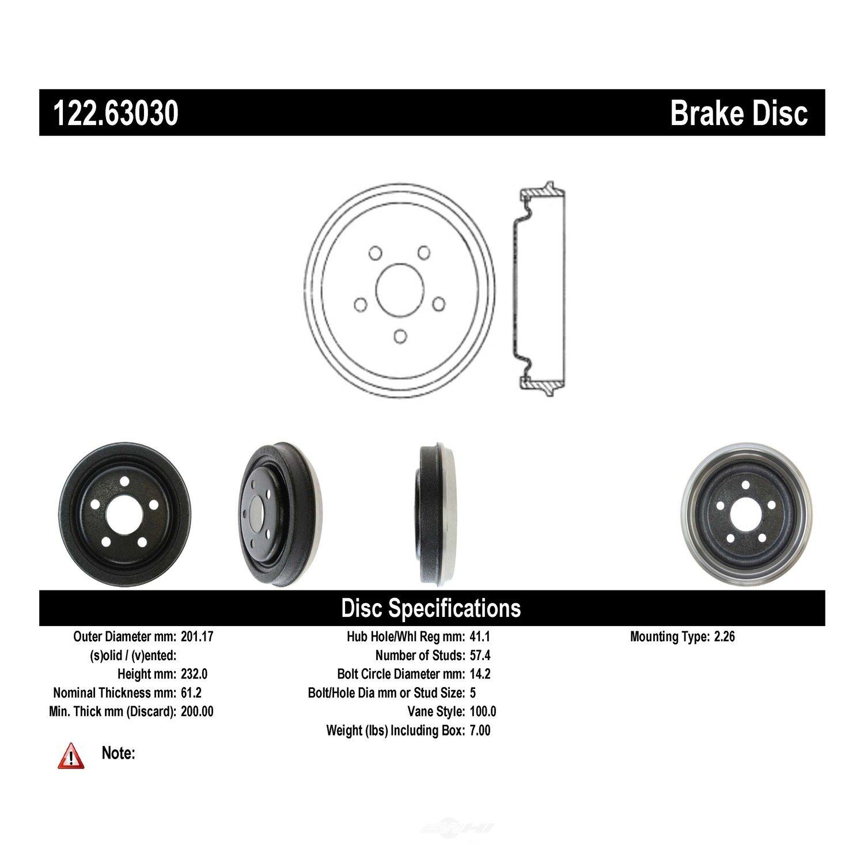 CENTRIC PARTS - Premium Drum - Preferred - CEC 122.63030