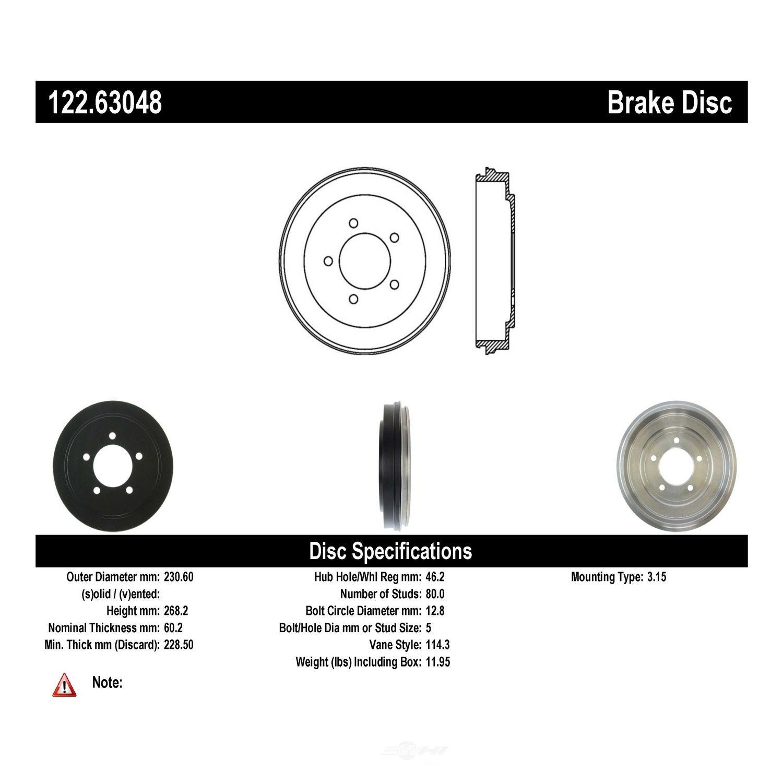 CENTRIC PARTS - Premium Drum - Preferred (Rear) - CEC 122.63048