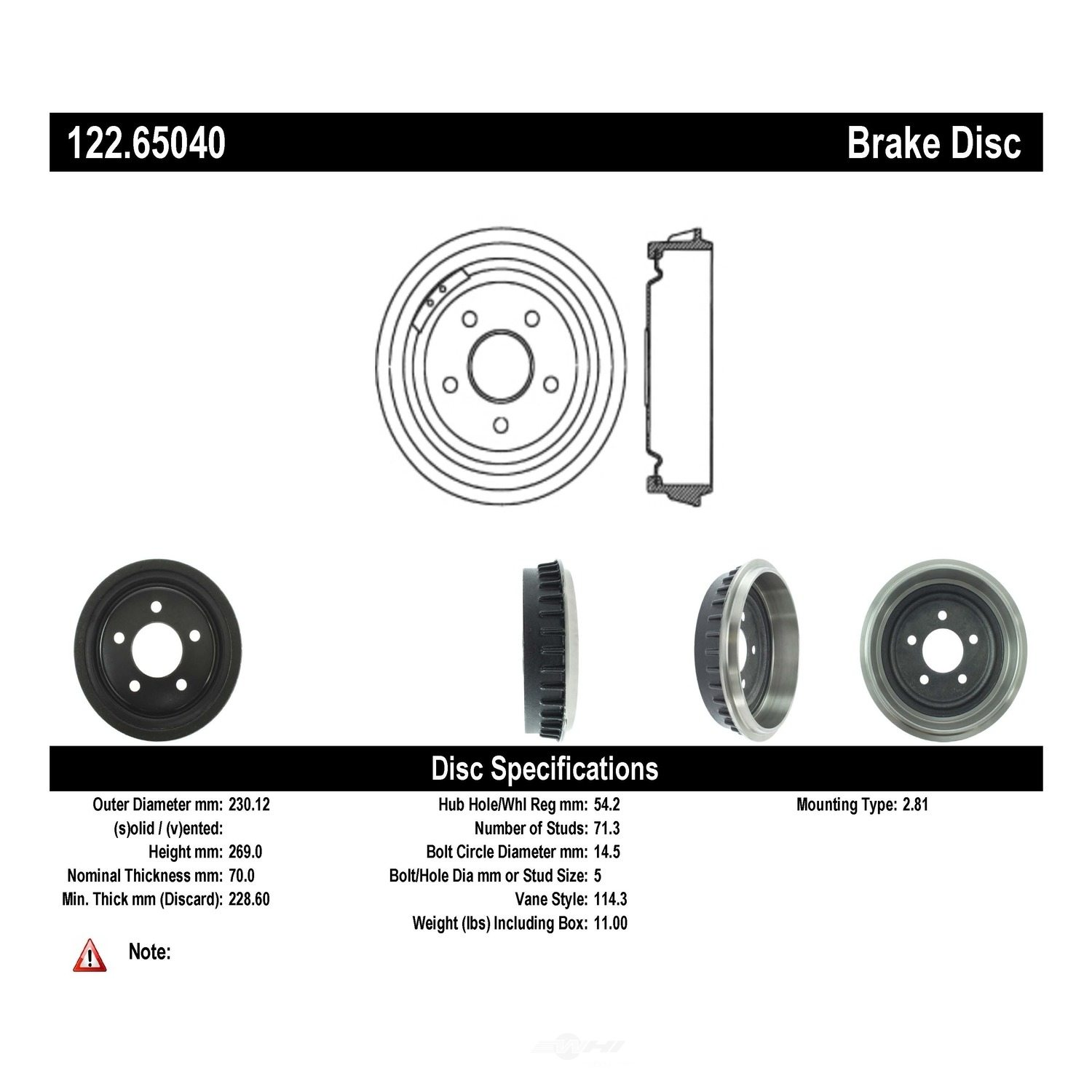 CENTRIC PARTS - Premium Drum - Preferred (Rear) - CEC 122.65040