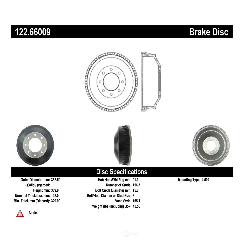 CENTRIC PARTS - Premium Drum - Preferred - CEC 122.66009