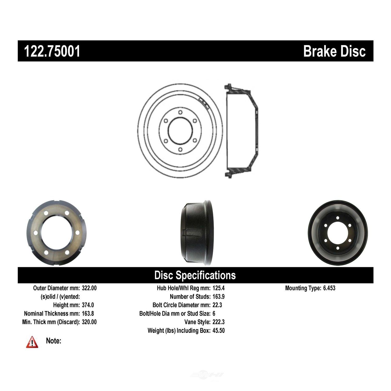 CENTRIC PARTS - Premium Drum - Preferred - CEC 122.75001