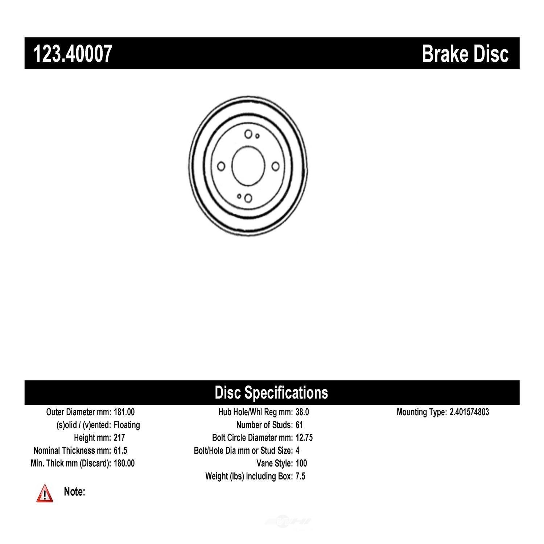 CENTRIC PARTS - Brake Drum - CEC 123.40007