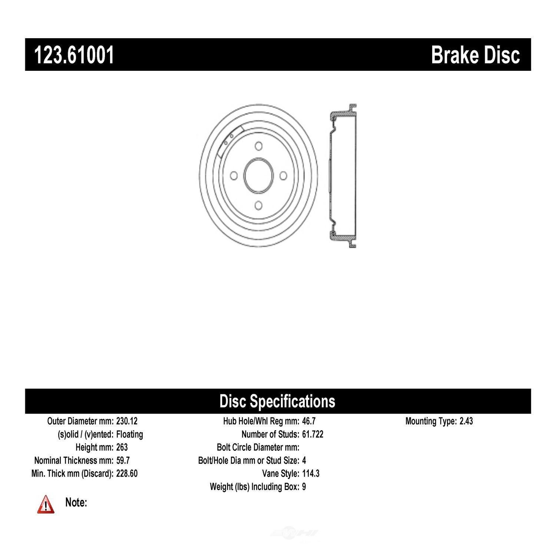 CENTRIC PARTS - Brake Drum - CEC 123.61001