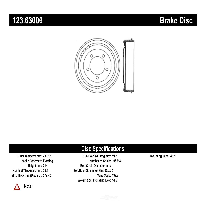 CENTRIC PARTS - Brake Drum - CEC 123.63006