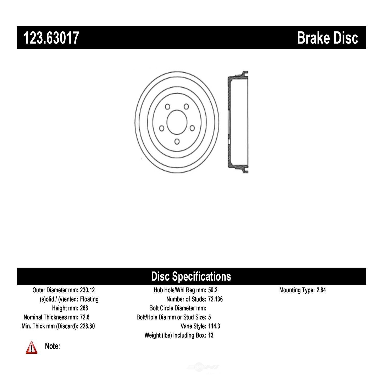 CENTRIC PARTS - Brake Drum - CEC 123.63017