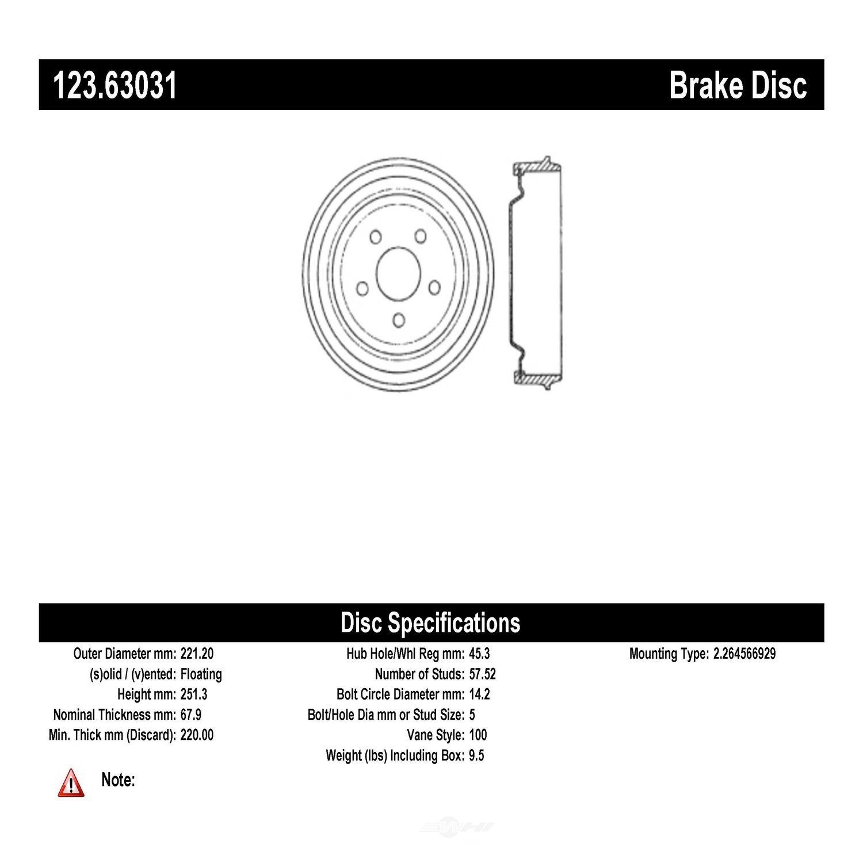 CENTRIC PARTS - Brake Drum - CEC 123.63031