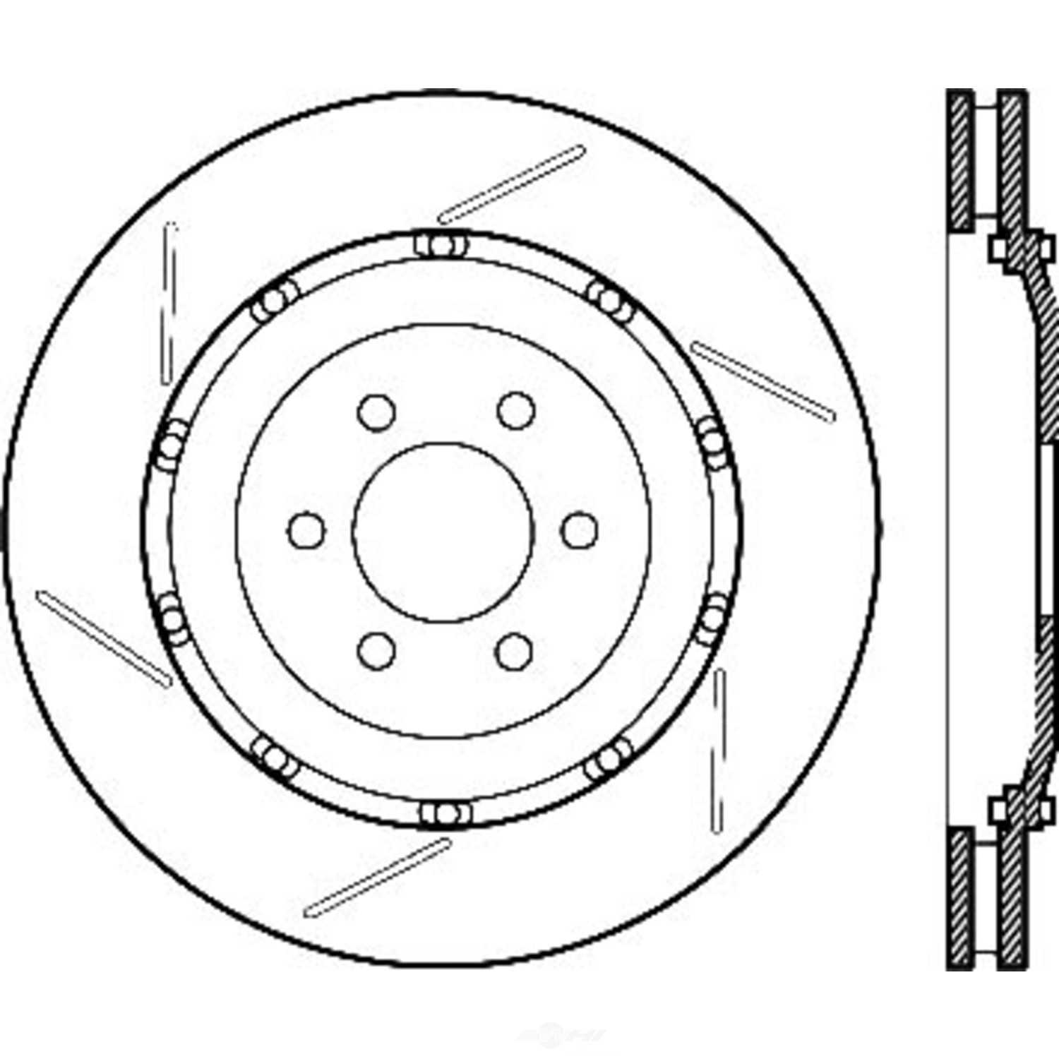 CENTRIC PARTS - OE Type Slotted Brake Disc-Preferred (Rear Left) - CEC 126.63076