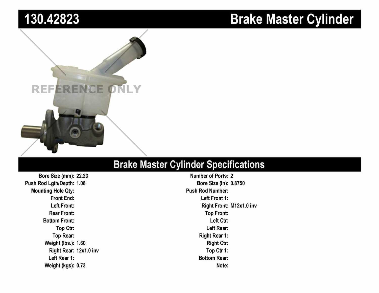 CENTRIC PARTS - Premium Master Cylinder - Preferred - CEC 130.42823