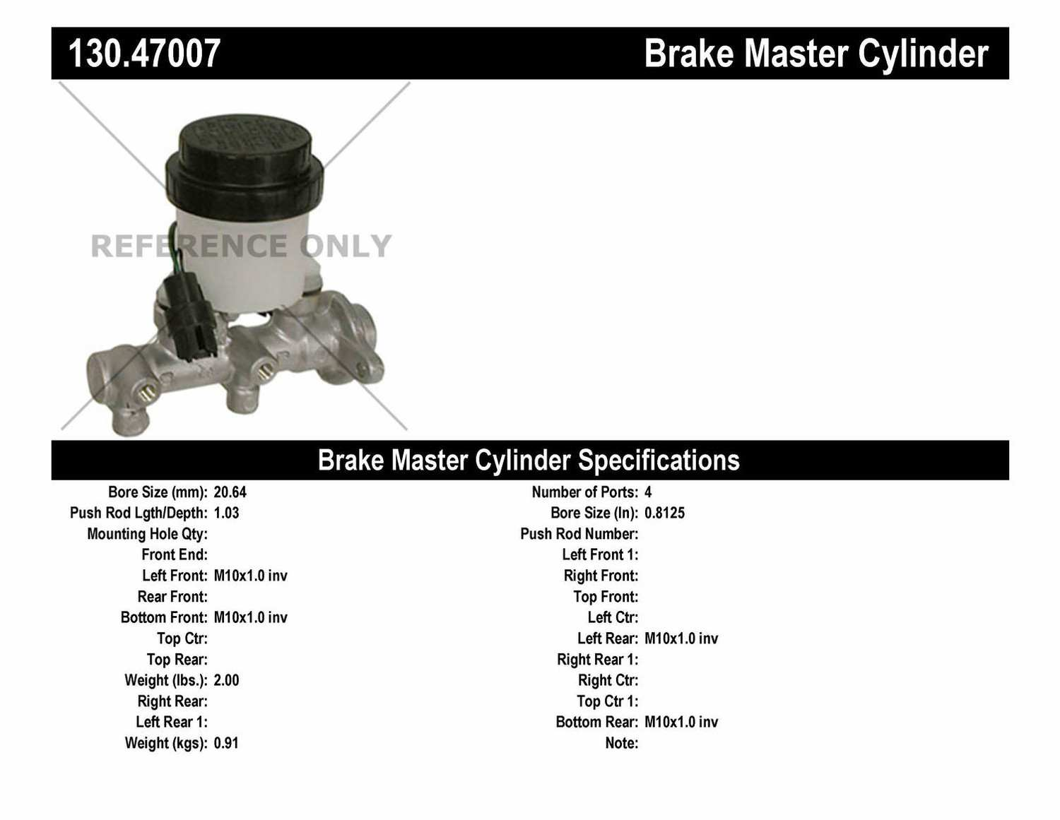CENTRIC PARTS - Premium Master Cylinder - Preferred - CEC 130.47007