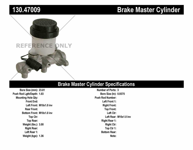CENTRIC PARTS - Premium Master Cylinder - Preferred - CEC 130.47009