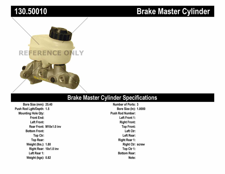 Auto 7 Brake Master Cylinder Part Number 111 0192 2000 Kia Sportage Rear Drum Diagram Centric Parts Premium Preferred