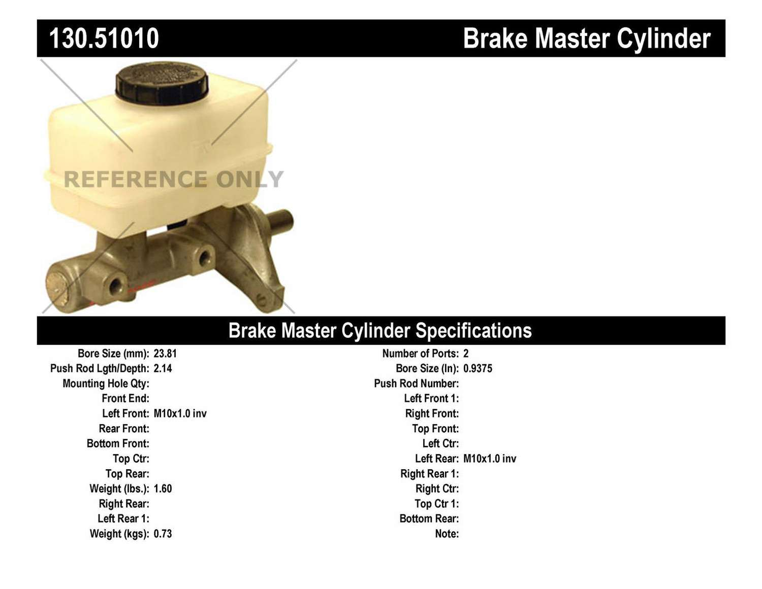 CENTRIC PARTS - Premium Master Cylinder - Preferred - CEC 130.51010