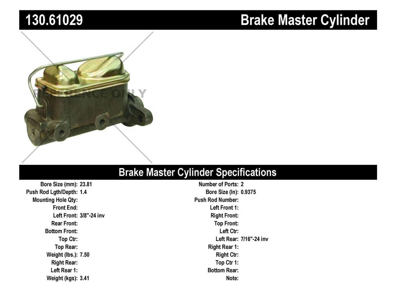 CENTRIC PARTS - Premium Master Cylinder - Preferred - CEC 130.61029