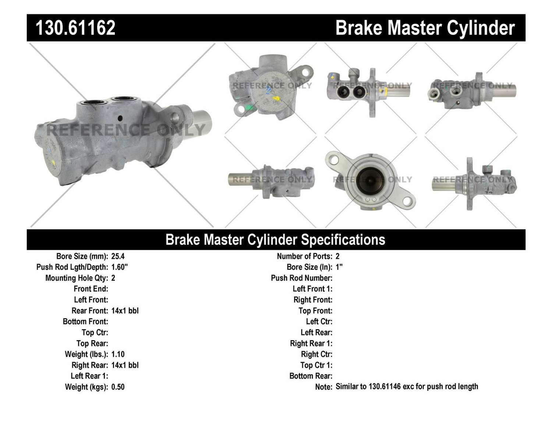 CENTRIC PARTS - Premium Master Cylinder - Preferred - CEC 130.61162