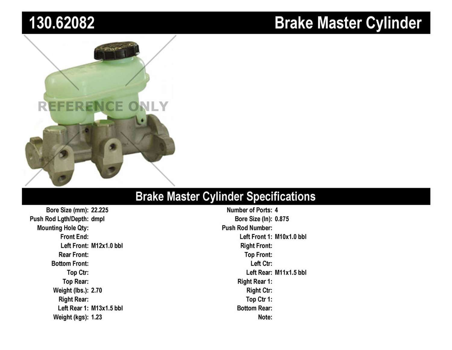 1995 Saturn Sl - Master Cyl, Booster, Switch Parts -CENTRIC PARTS