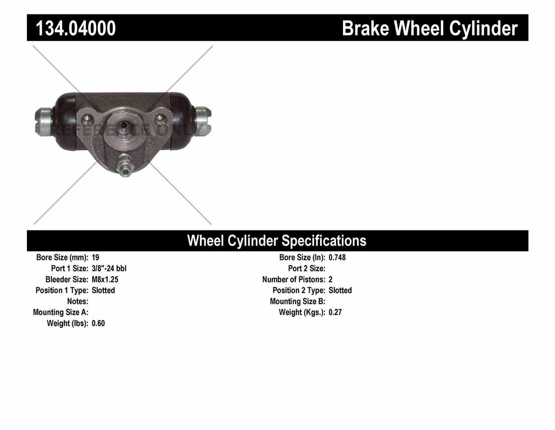 CENTRIC PARTS - Premium Wheel Cylinder-Preferred (Rear) - CEC 134.04000