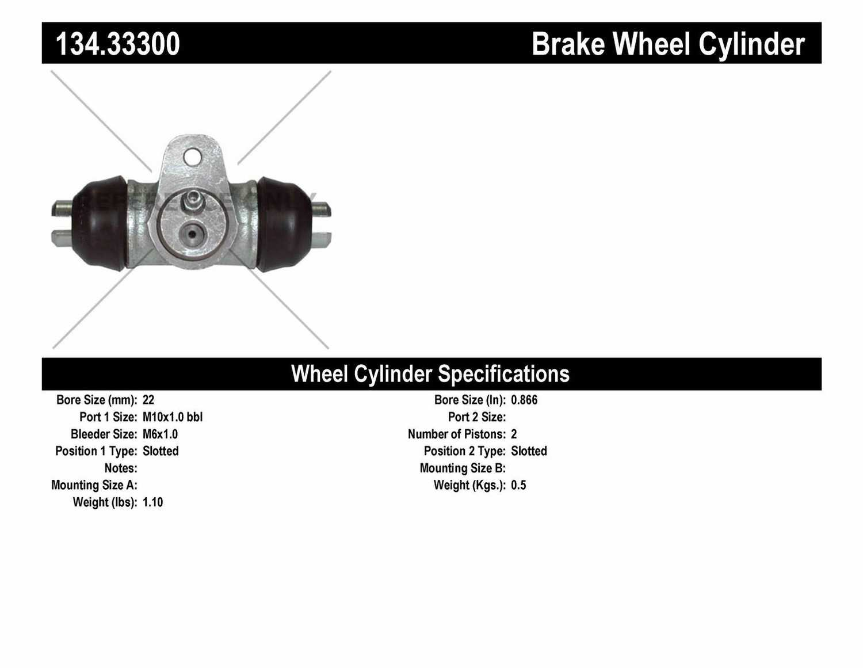 CENTRIC PARTS - Premium Wheel Cylinder-Preferred (Rear) - CEC 134.33300