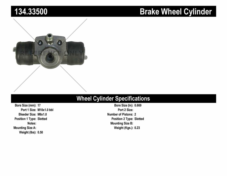 CENTRIC PARTS - Premium Wheel Cylinder-Preferred (Rear) - CEC 134.33500