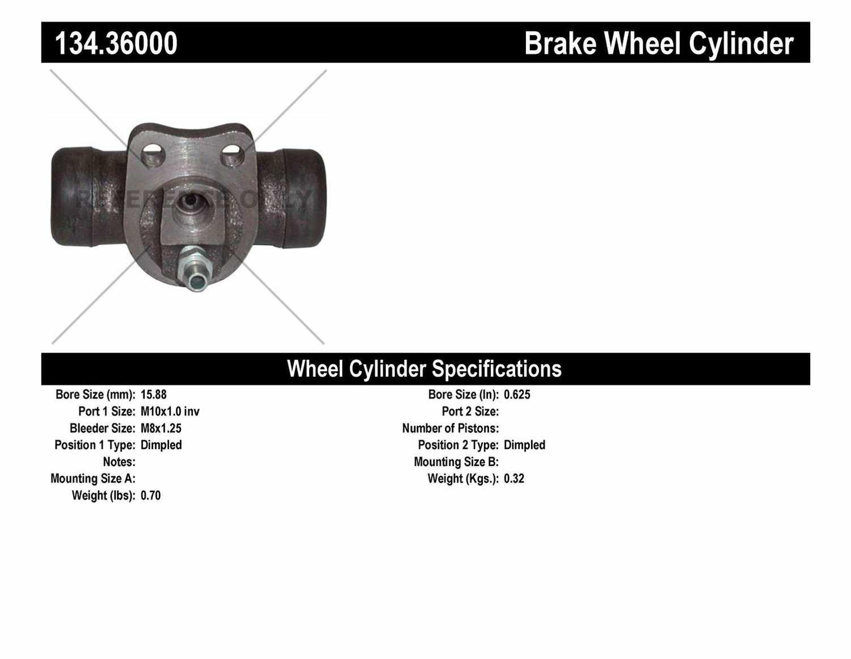 CENTRIC PARTS - Premium Wheel Cylinder-Preferred (Rear) - CEC 134.36000