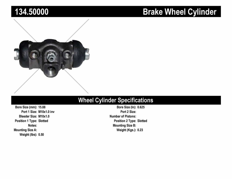 CENTRIC PARTS - Premium Wheel Cylinder-Preferred (Rear) - CEC 134.50000