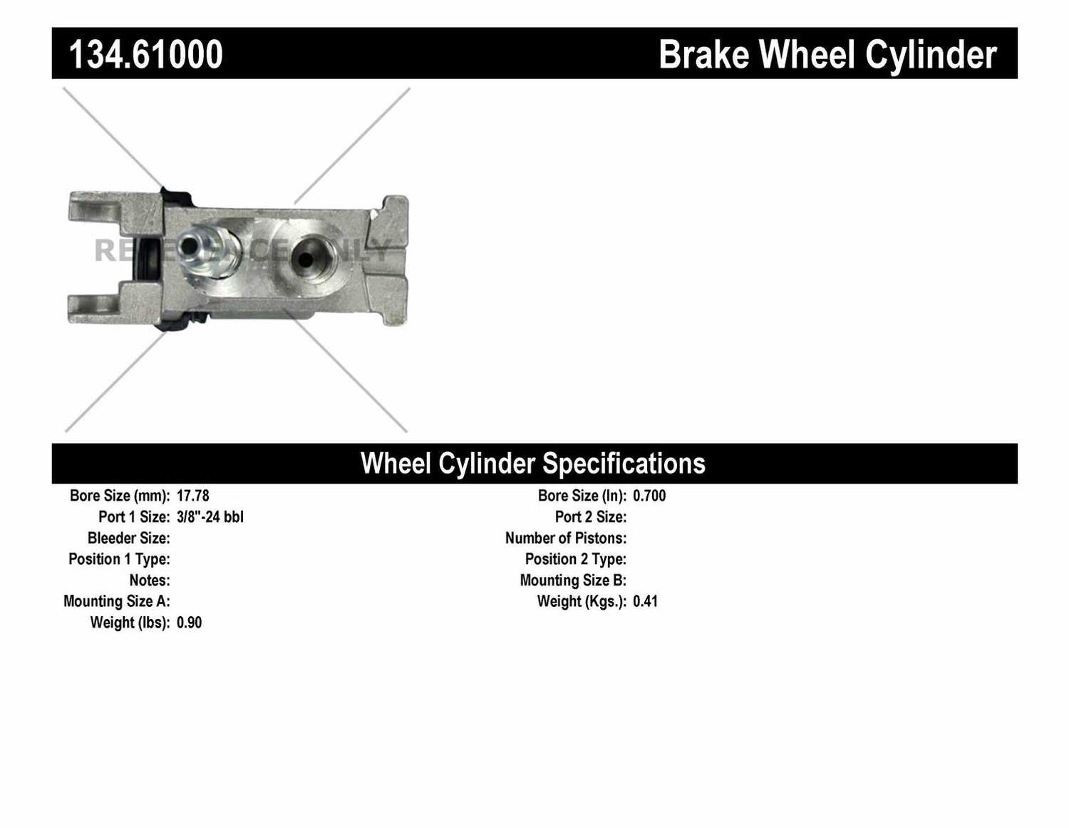 CENTRIC PARTS - Premium Wheel Cylinder-Preferred - CEC 134.61000
