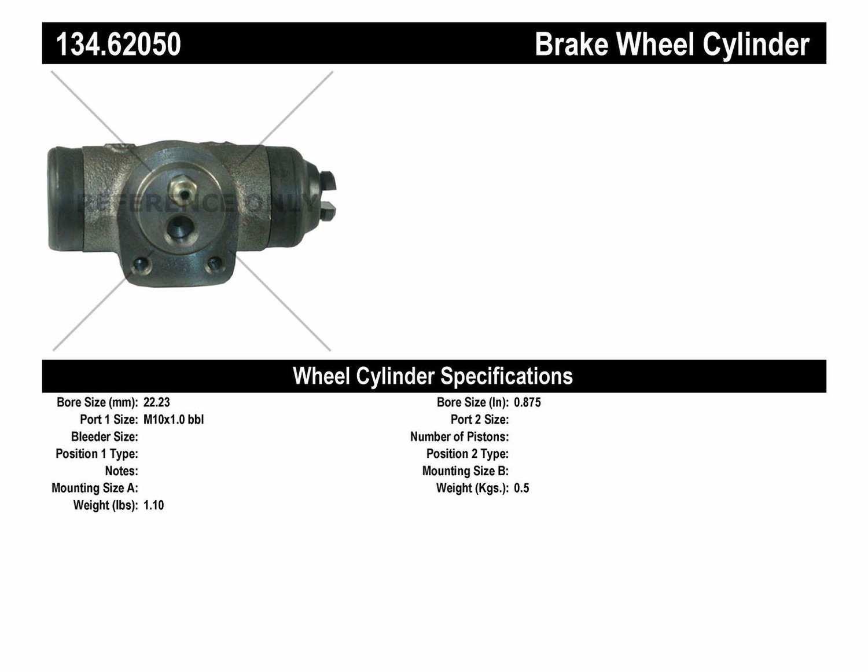 CENTRIC PARTS - Premium Wheel Cylinder-Preferred (Rear) - CEC 134.62050