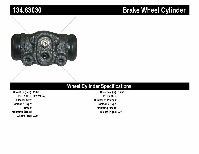 CENTRIC PARTS - Premium Wheel Cylinder-Preferred (Rear) - CEC 134.63030