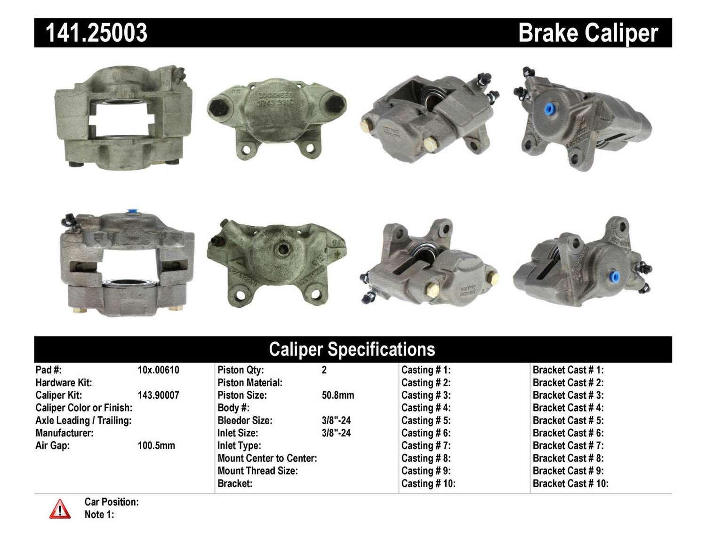 CENTRIC PARTS - Premium Semi-Loaded Caliper (Front Right) - CEC 141.25003