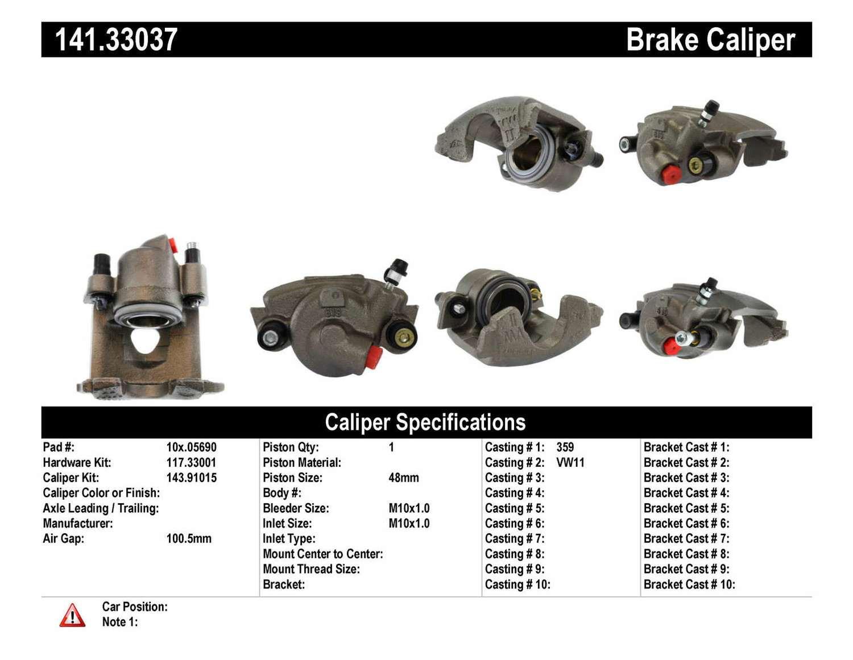 CENTRIC PARTS - Premium Semi-Loaded Caliper-Preferred - CEC 141.33037