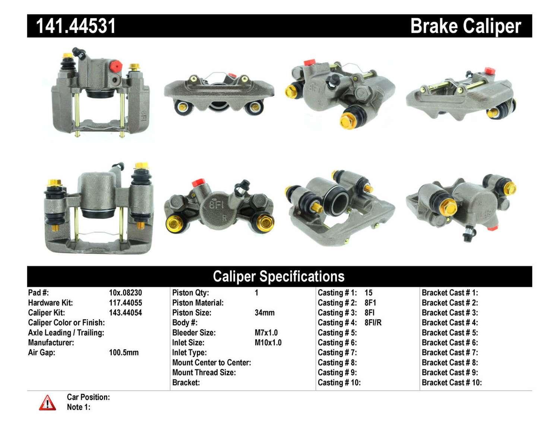 CENTRIC PARTS - Premium Semi-Loaded Caliper-Preferred (Rear Right) - CEC 141.44531