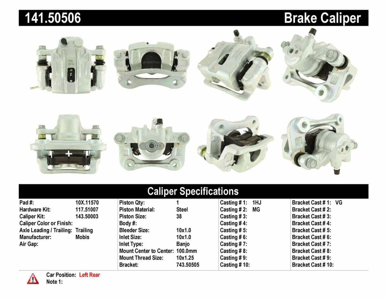 CENTRIC PARTS - Premium Semi-Loaded Caliper Housing & Bracket - Preferred (Rear Left) - CEC 141.50506