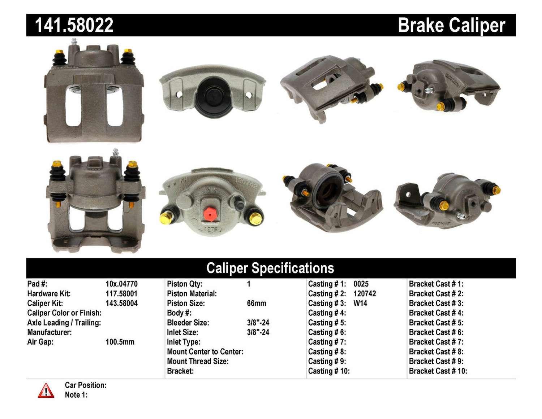 CENTRIC PARTS - Premium Semi-Loaded Caliper (Front Left) - CEC 141.58022
