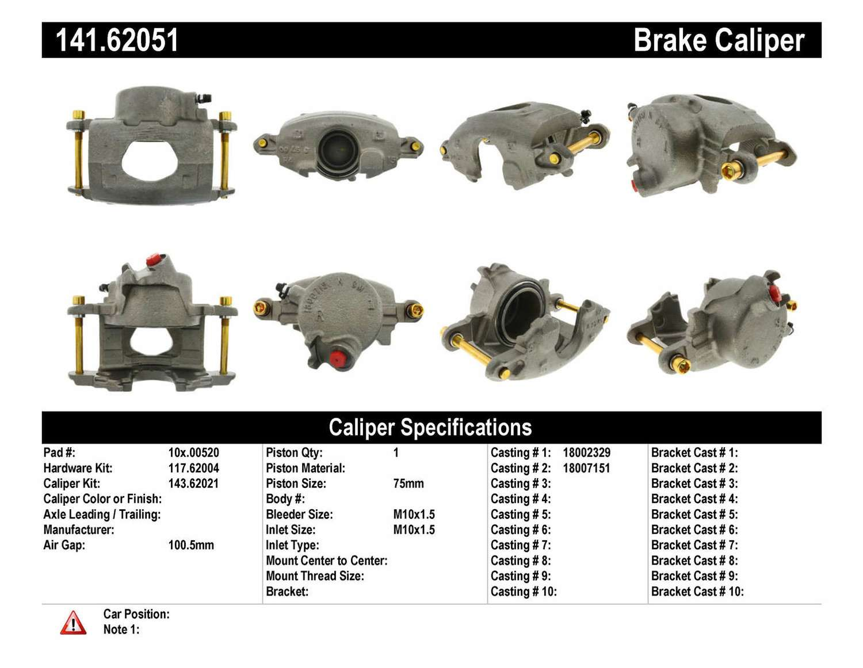 CENTRIC PARTS - Premium Semi-Loaded Caliper-Preferred (Front Right) - CEC 141.62051