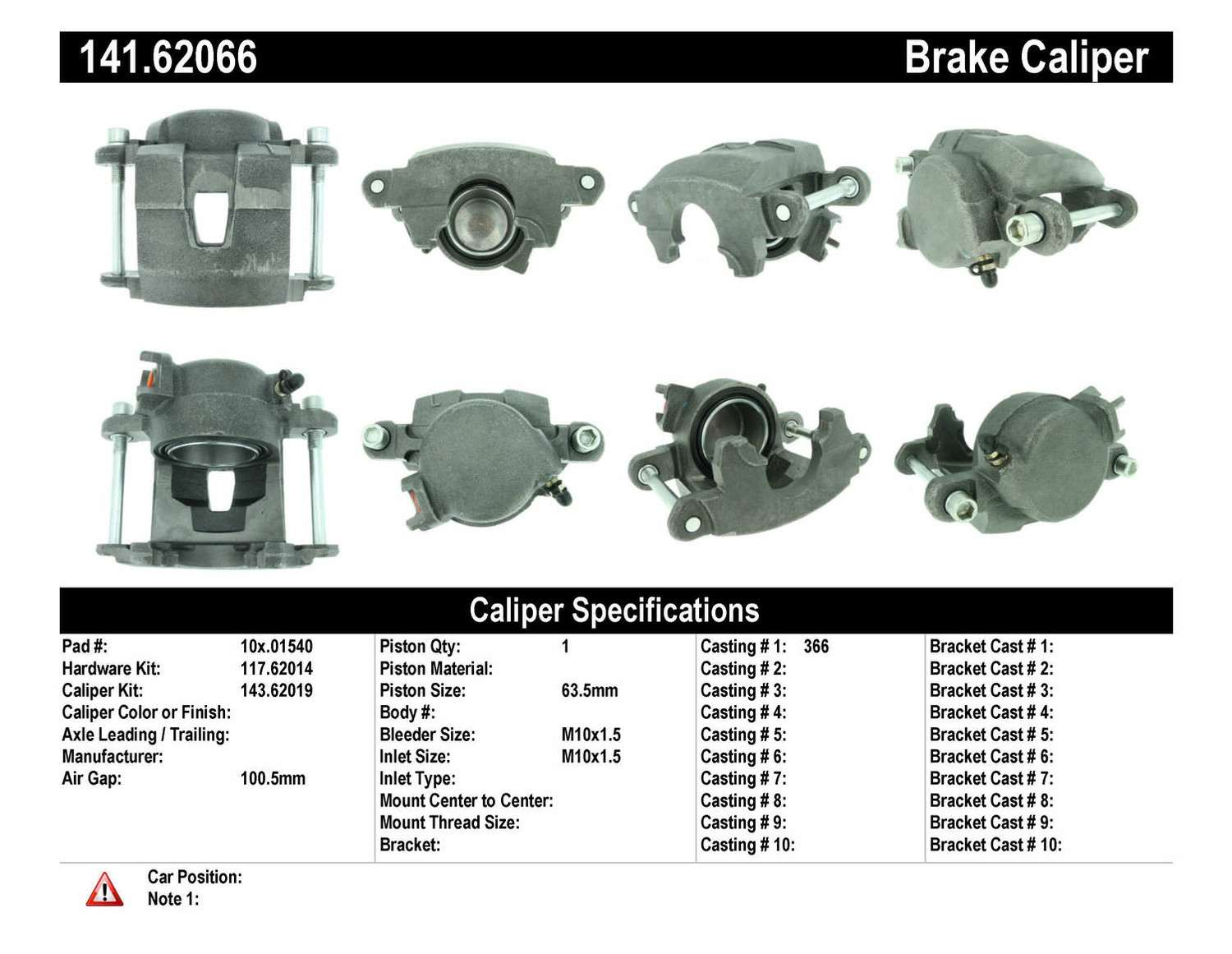 CENTRIC PARTS - Premium Semi-Loaded Caliper - CEC 141.62066