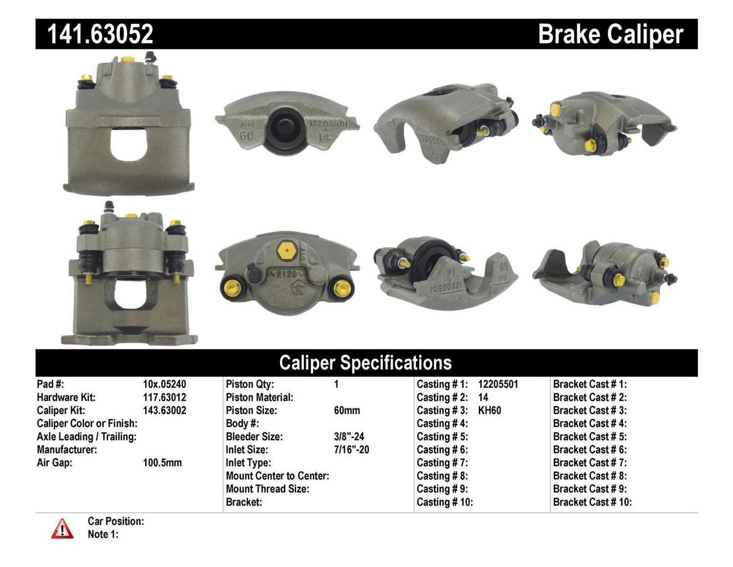 CENTRIC PARTS - Premium Semi-Loaded Caliper - CEC 141.63052