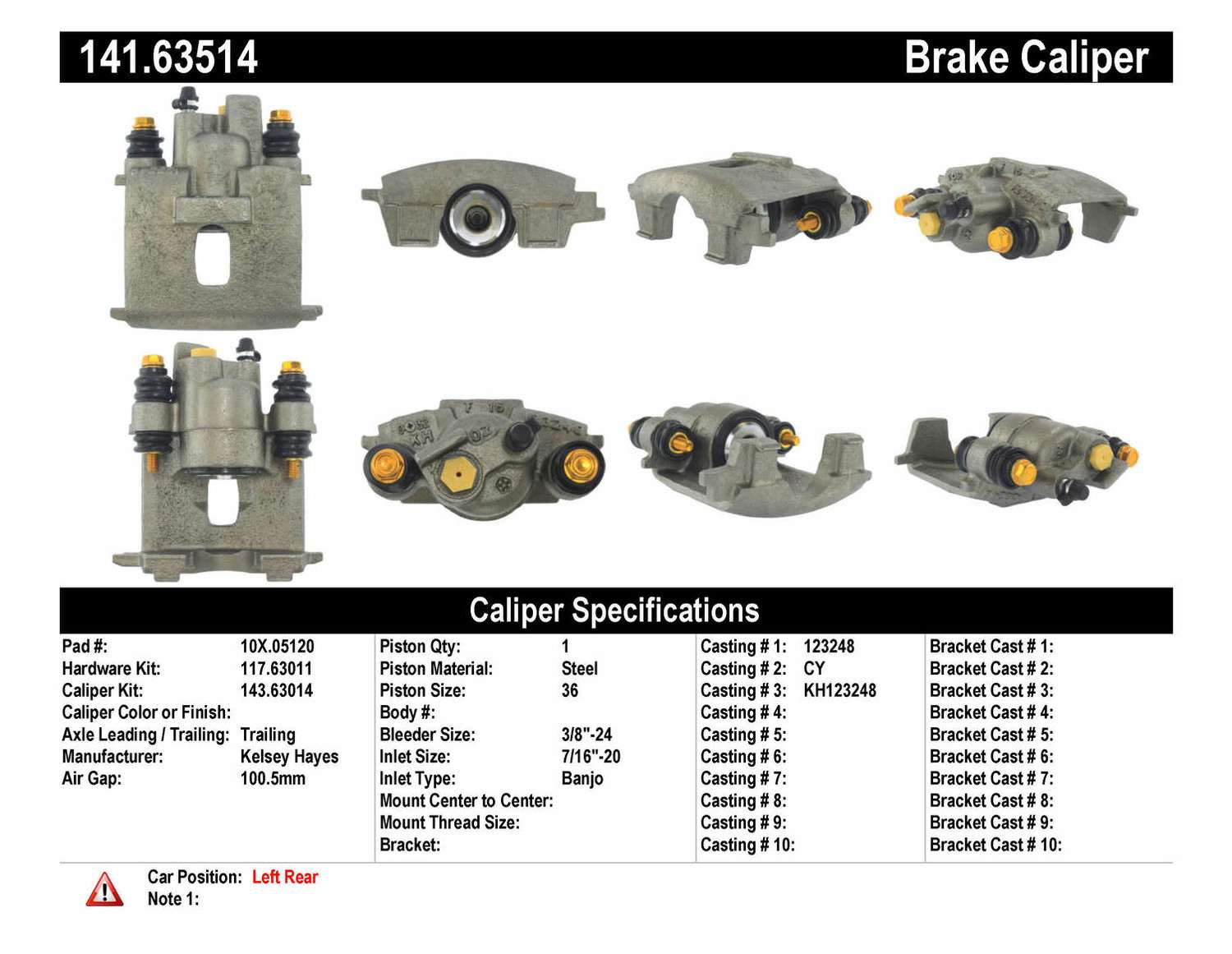 CENTRIC PARTS - Premium Semi-Loaded Caliper (Rear Left) - CEC 141.63514