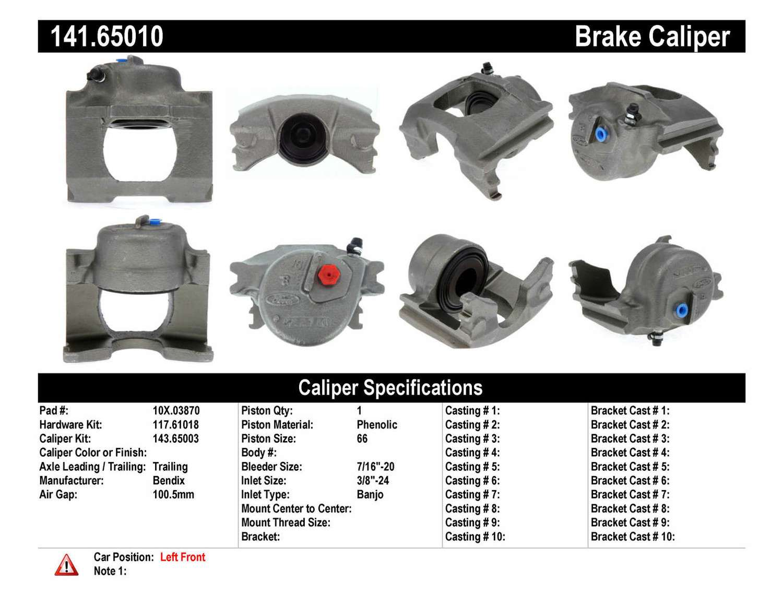 CENTRIC PARTS - Premium Semi-Loaded Caliper (Front Left) - CEC 141.65010