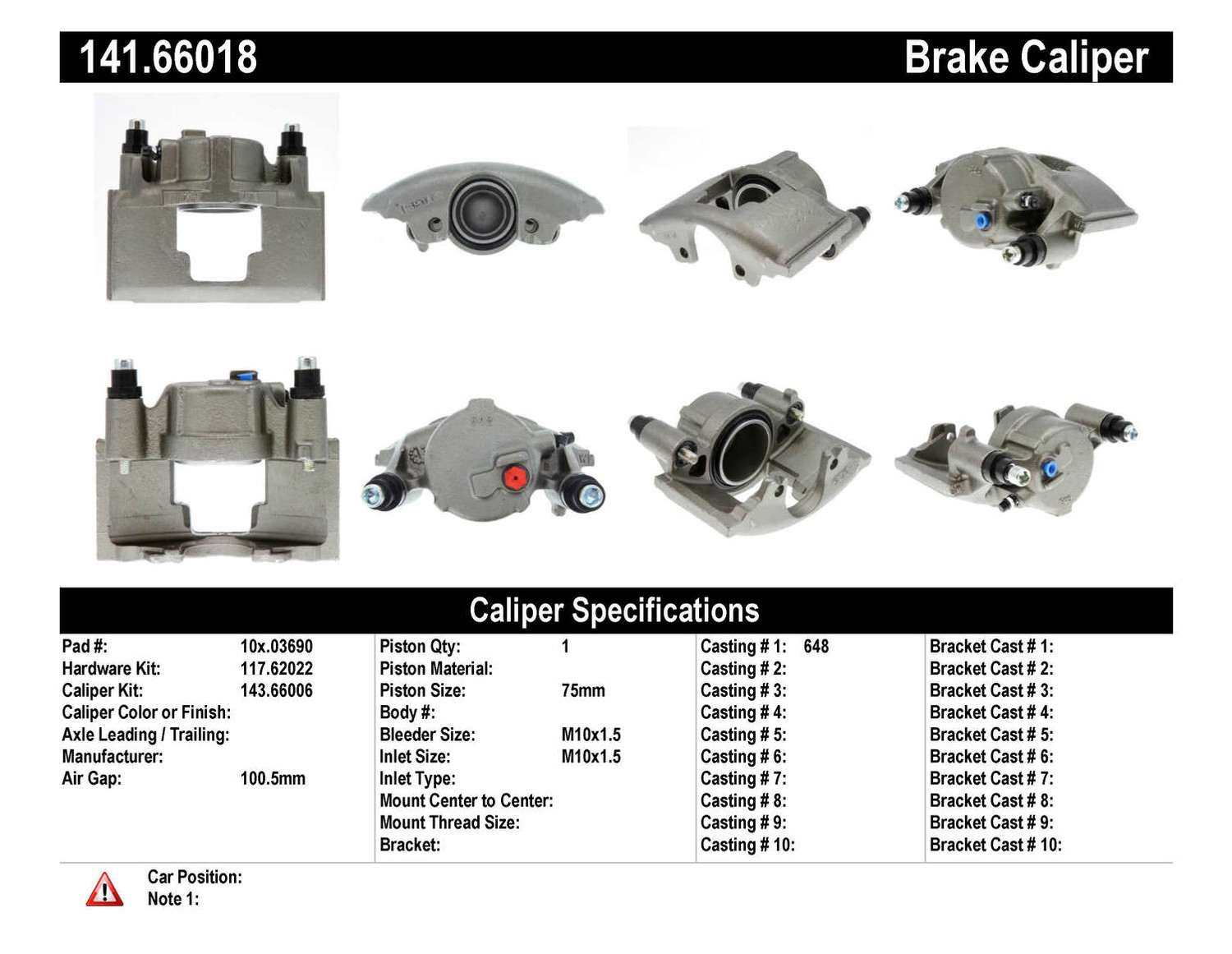 CENTRIC PARTS - Premium Semi-Loaded Caliper (Front Left) - CEC 141.66018