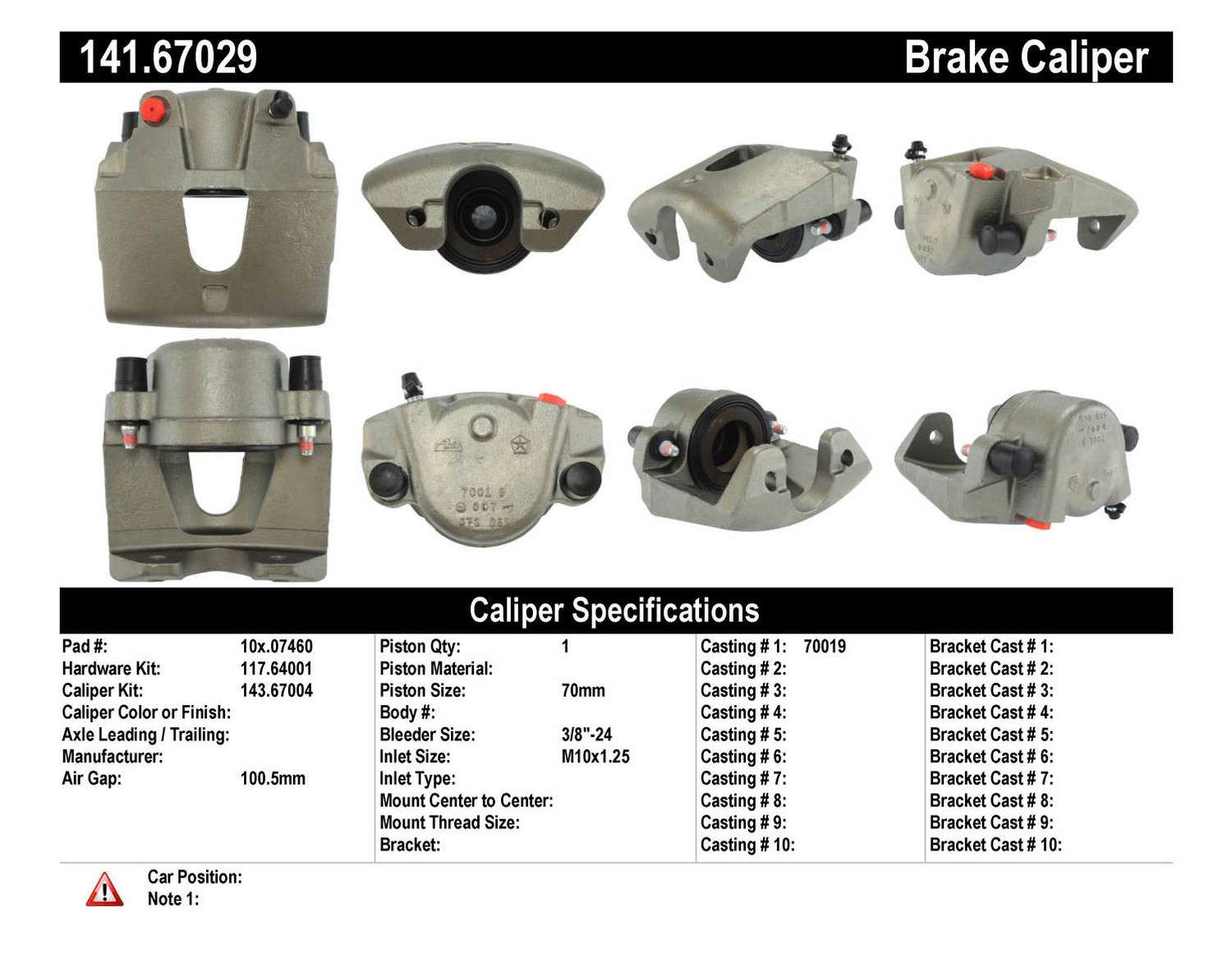 CENTRIC PARTS - Premium Semi-Loaded Caliper (Front Right) - CEC 141.67029