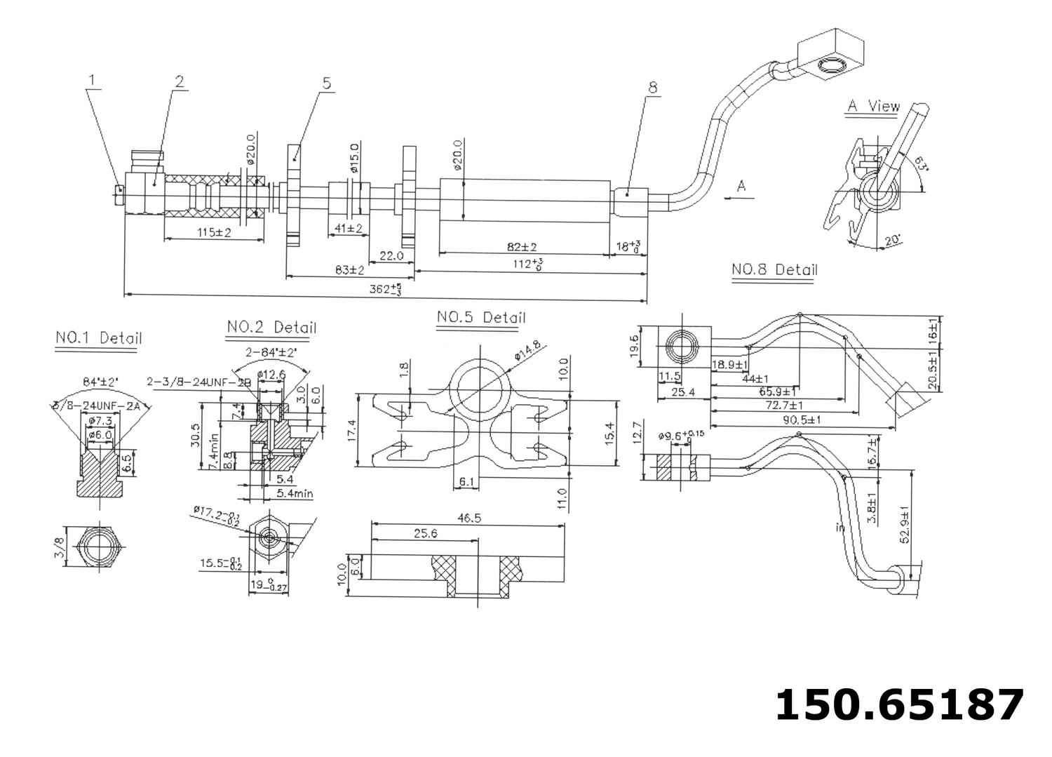 CENTRIC PARTS - Brake Hydraulic Hose (Front Right) - CEC 150.65187